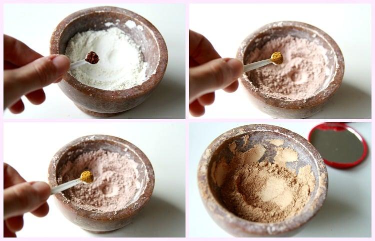 3 korak dodajanje pigmentov mineralni puder v kamnu