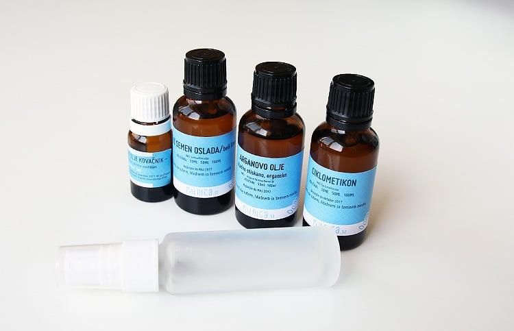 1 korak priprava sestavin svileno olje za lase