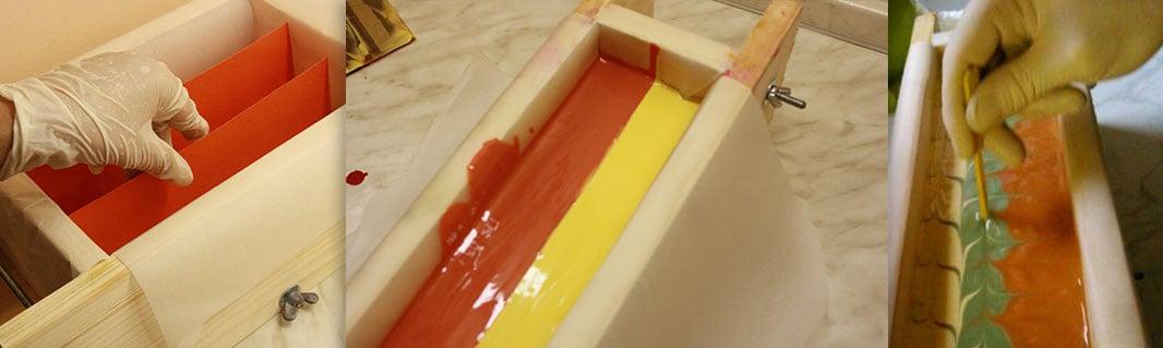 Domače milo z vzorcem in barvnimi plastmi